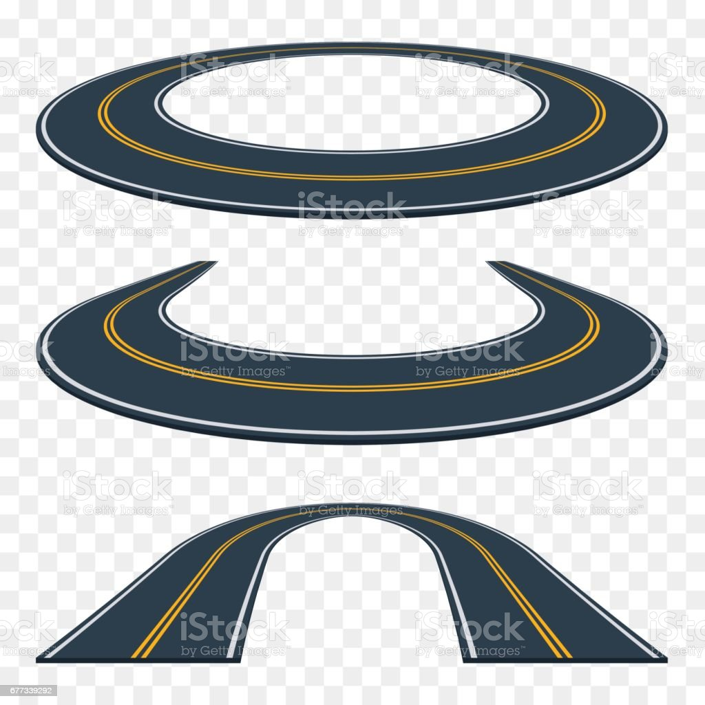 Set of curved asphalt road in perspective. Highway icons. vector art illustration