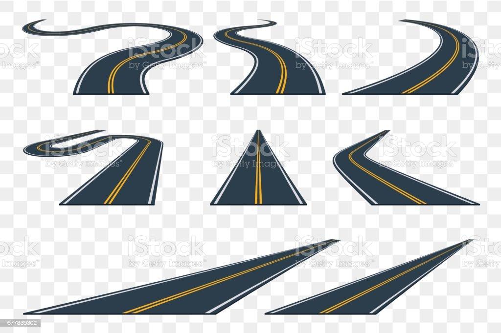 Set of curved asphalt road in perspective. Highway icons. vector art illustration