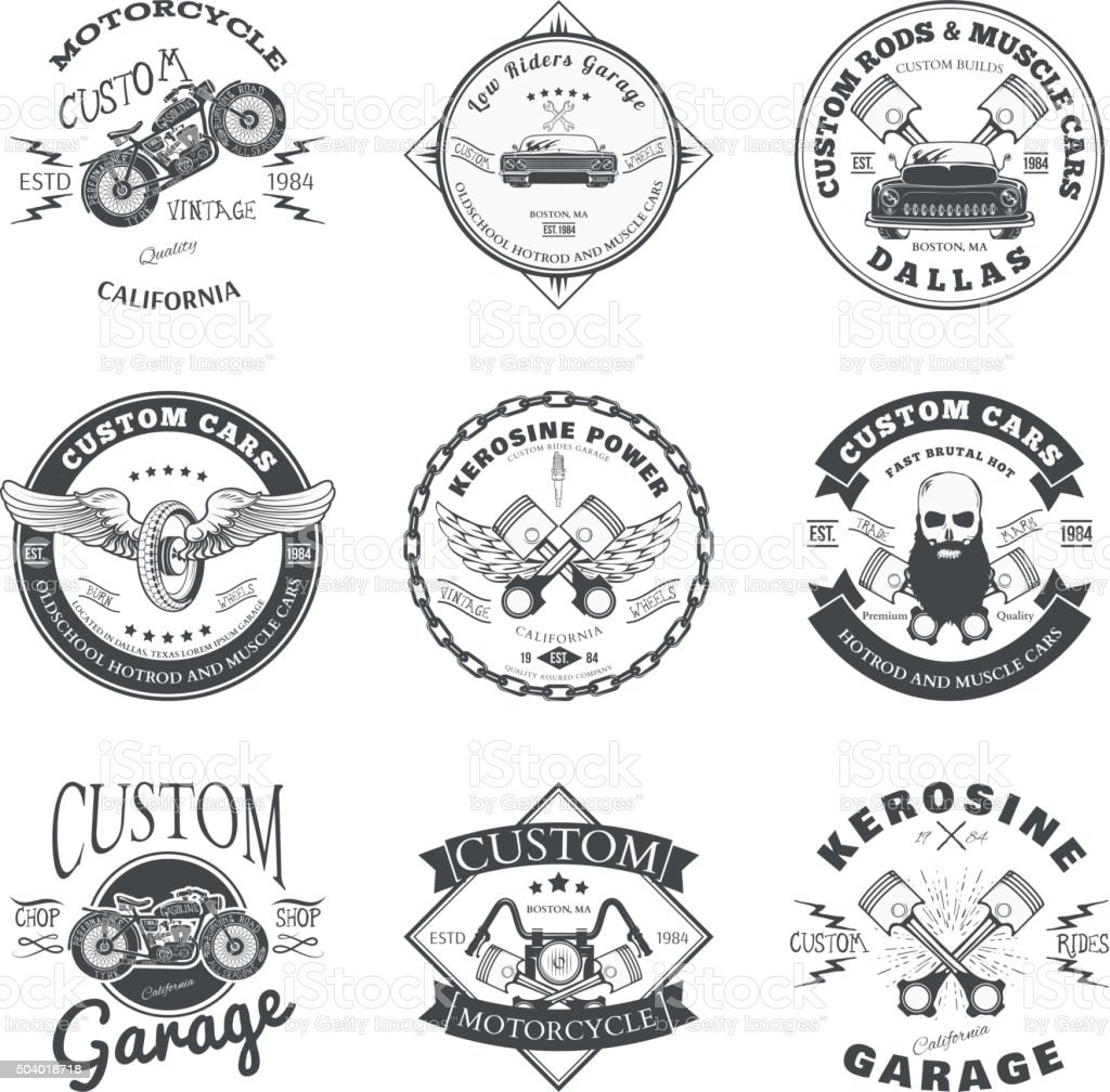 Set of Custom Car and Bike Garage Label and Badge vector art illustration