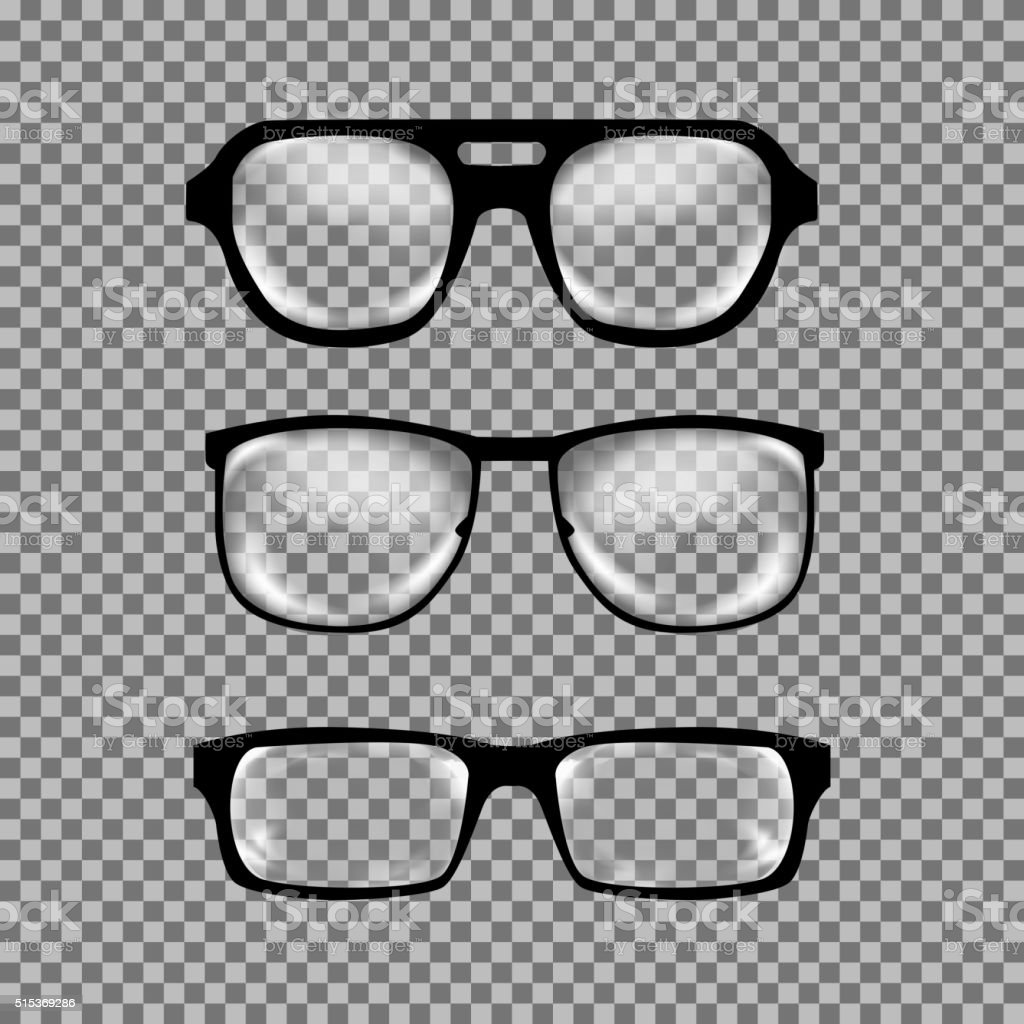 Set of custom glasses isolated vector art illustration