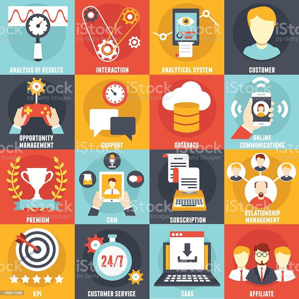 Set of Customer Relationship Management Icons vector art illustration