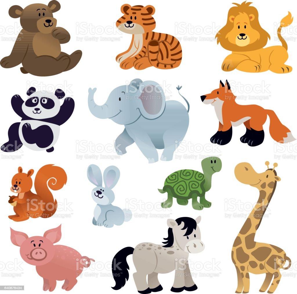 Set of Cute animals vector art illustration