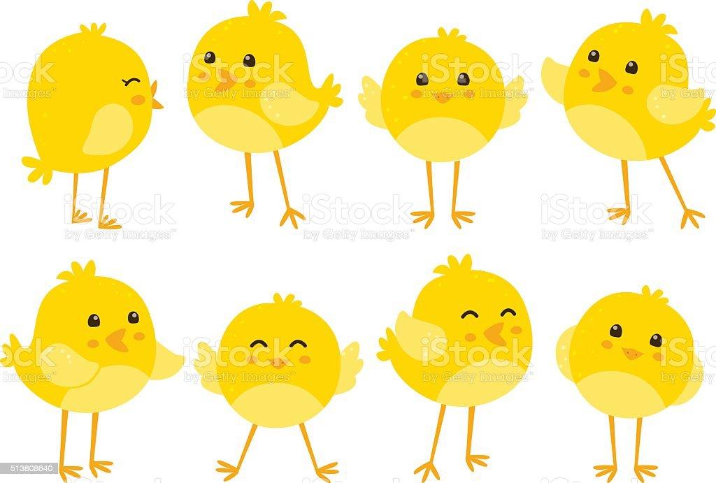 Set of cute cartoon chickens vector art illustration