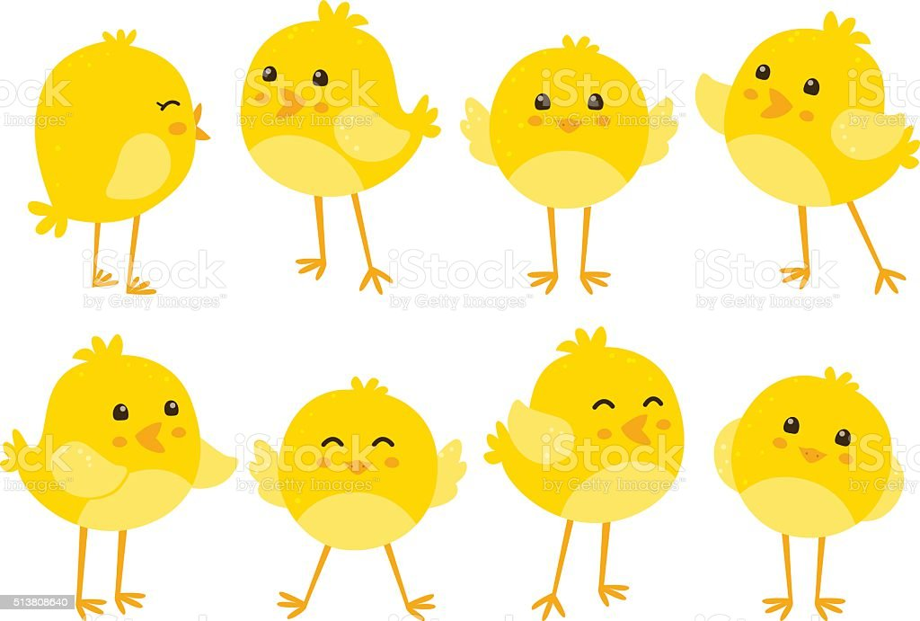 Set of cute cartoon chickens vector art illustration