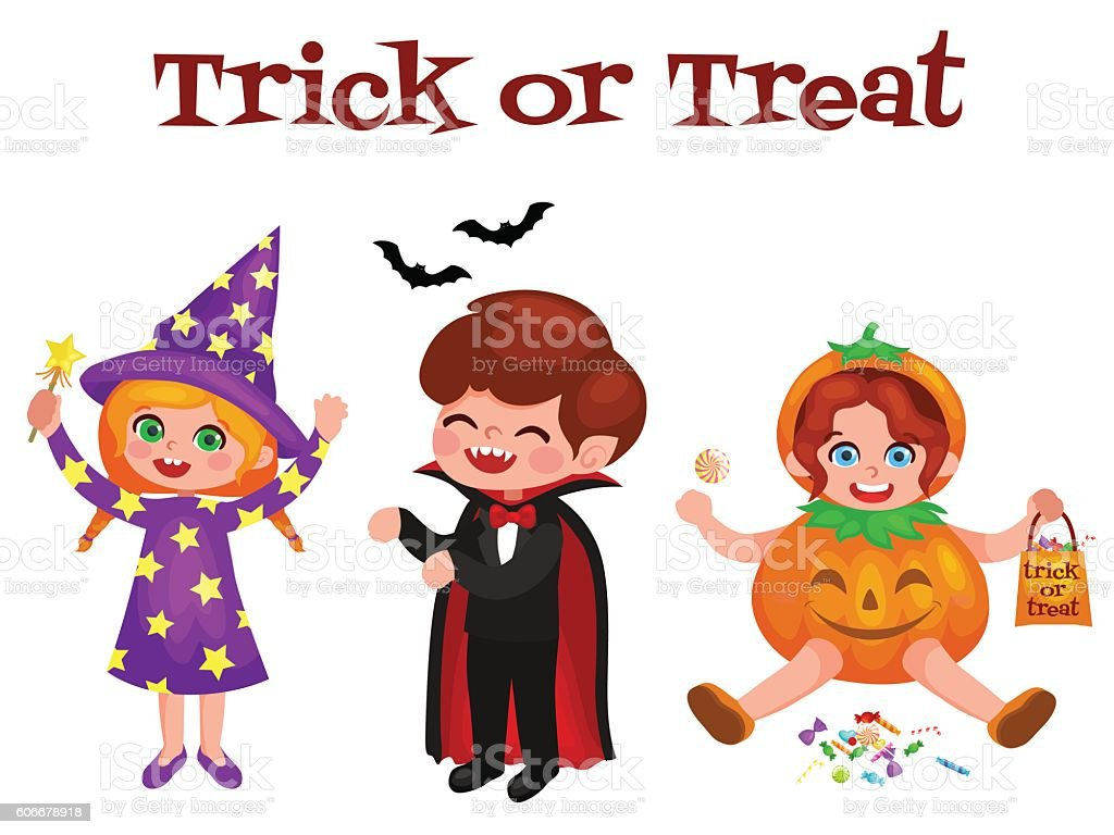 Set of cute cartoon children in colorful halloween costumes vector art illustration