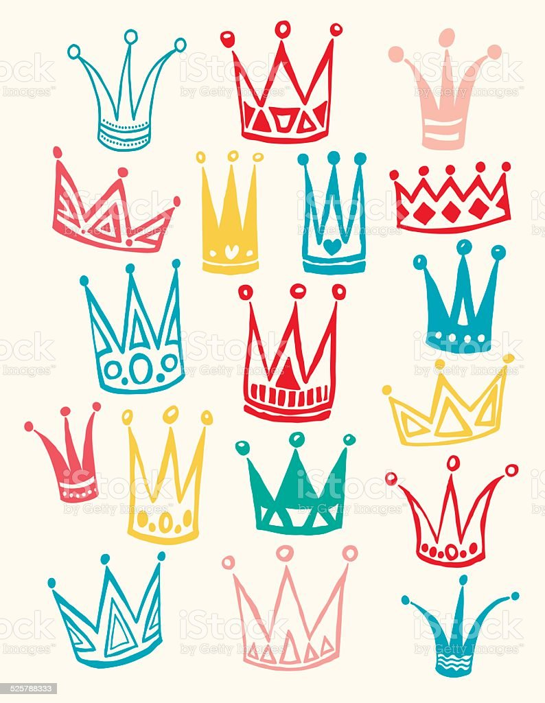 Set of cute cartoon crowns. Hand drawing vector background. vector art illustration