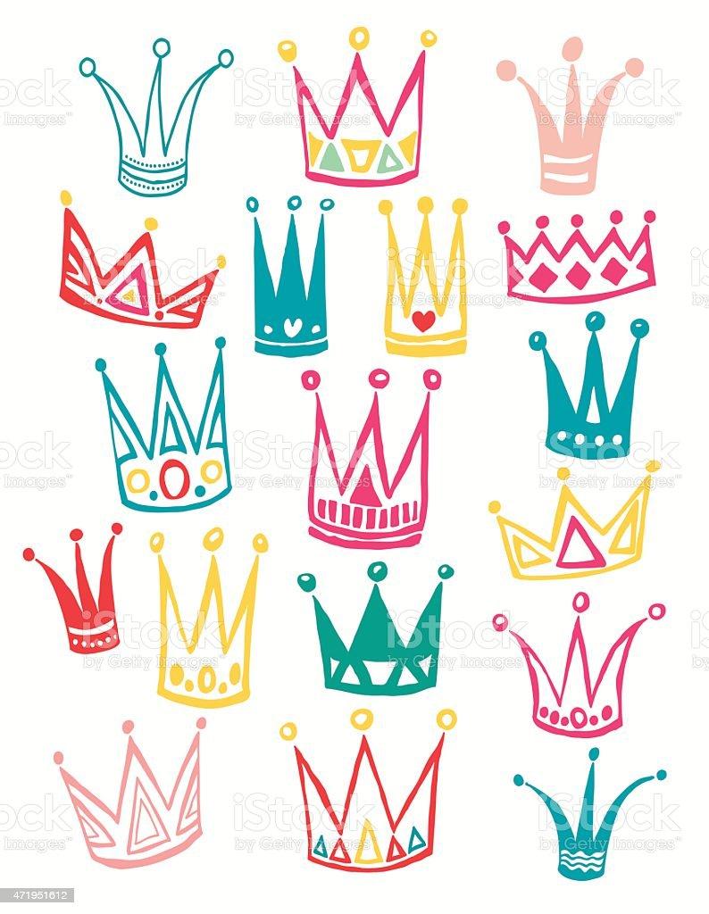 Set of cute cartoon crowns.   Vector illustration. vector art illustration