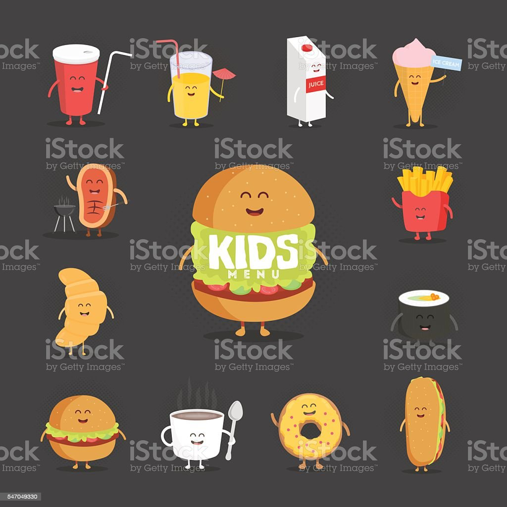 Set of cute cartoon fast food characters vector art illustration