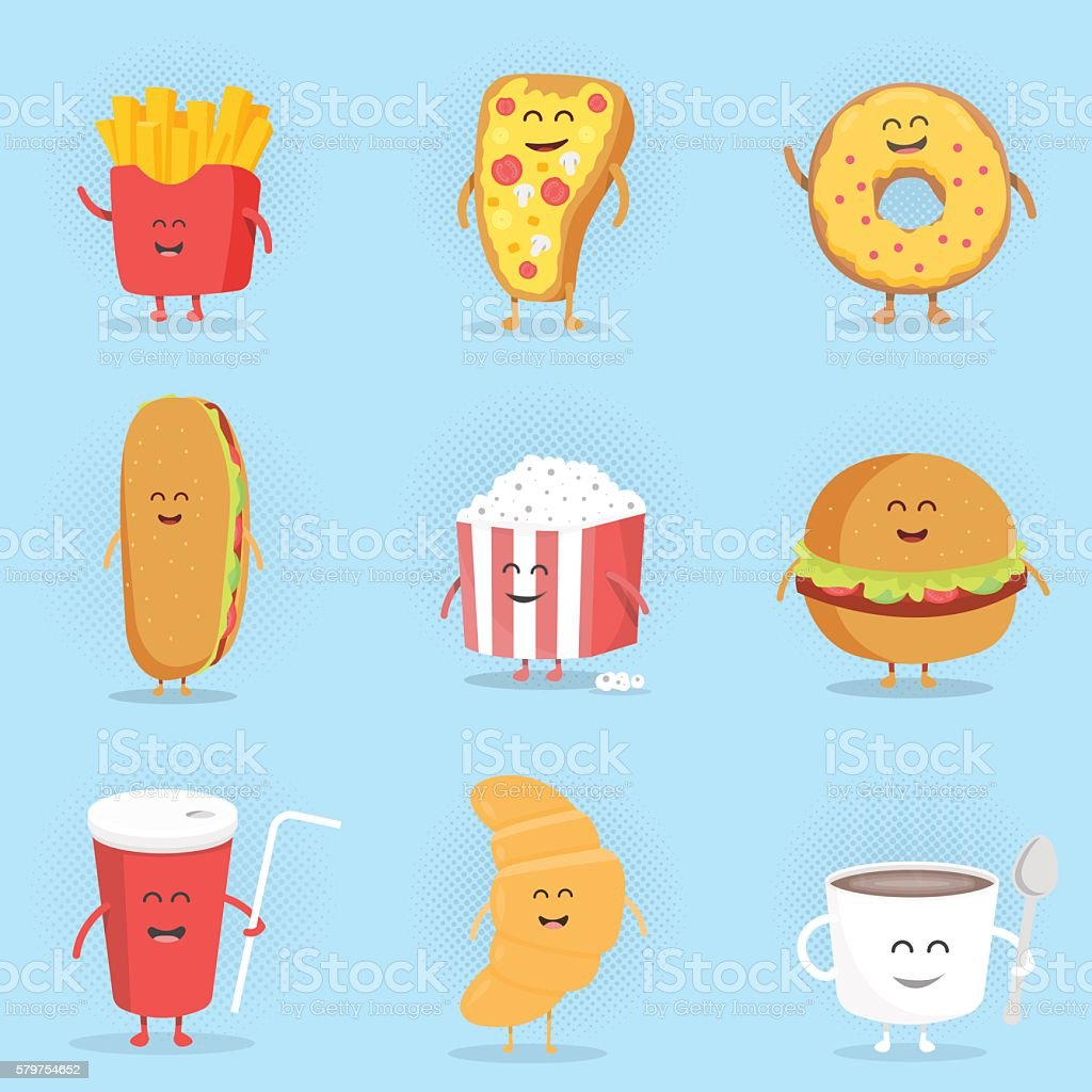 Set of cute cartoon fast food characters. vector art illustration