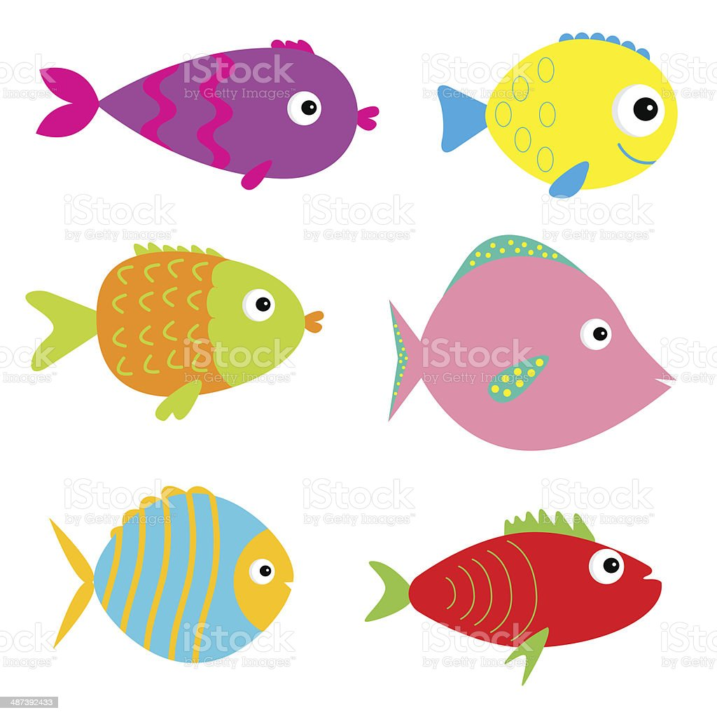 Set of cute cartoon fishes. Isolated. royalty-free stock vector art