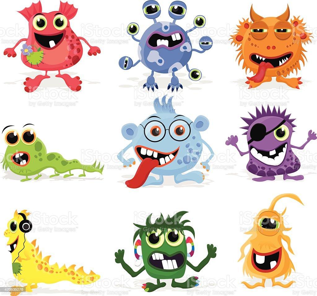 Set of cute cartoon monsters. vector art illustration