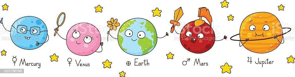 のかわいい漫画の惑星 のイラスト素材 522728736 | iStock