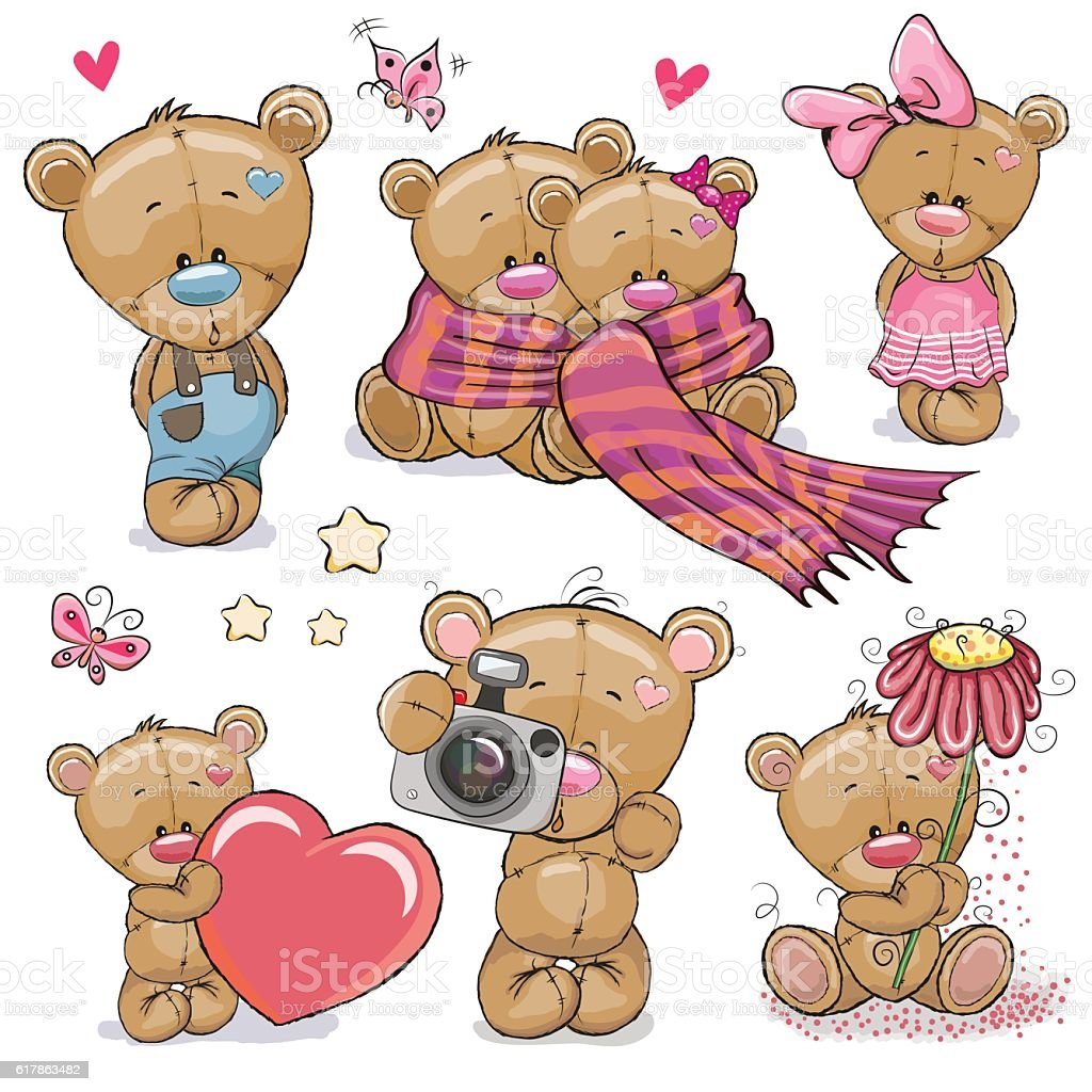 Set of Cute Cartoon Teddy Bear vector art illustration