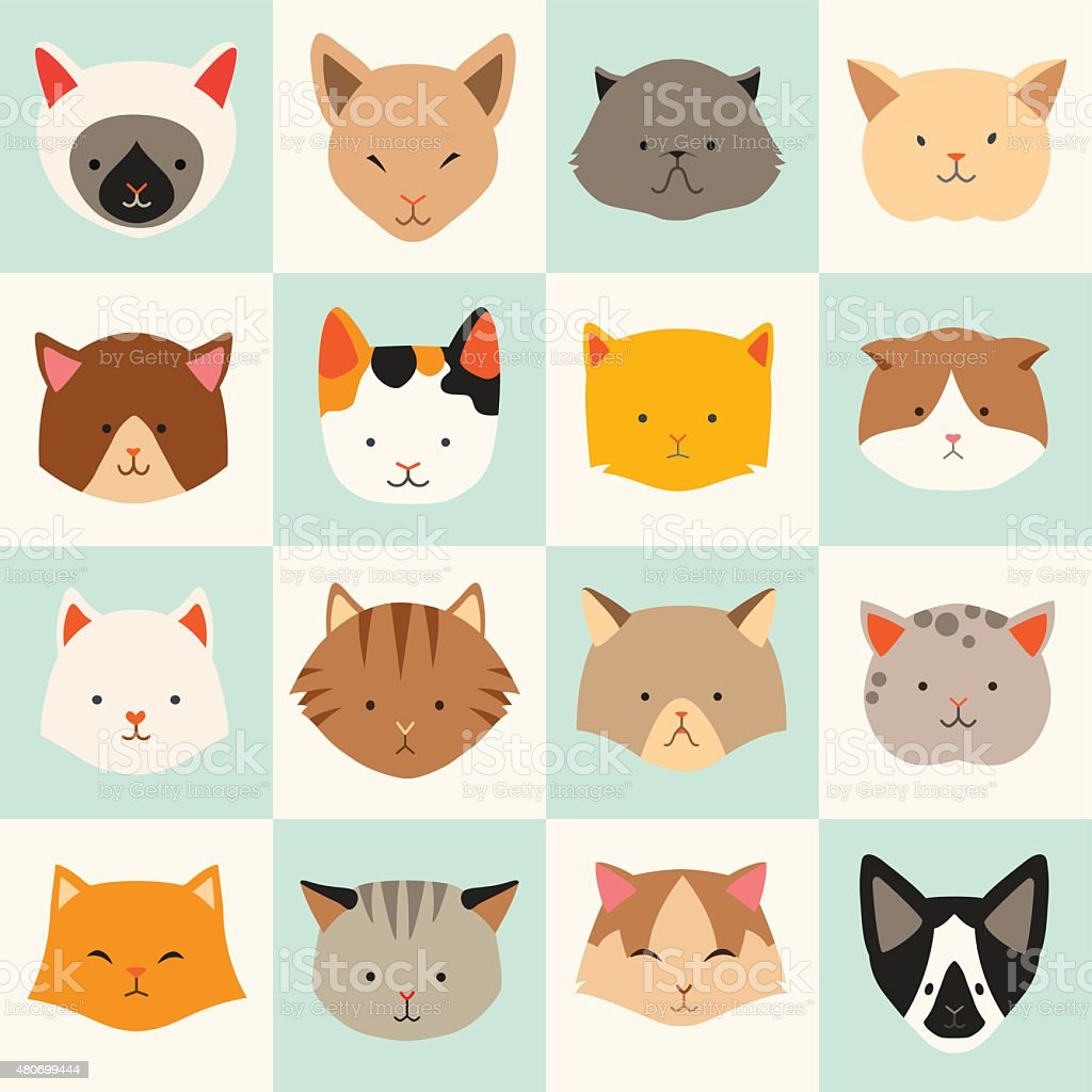 Set of cute cats icons vector art illustration
