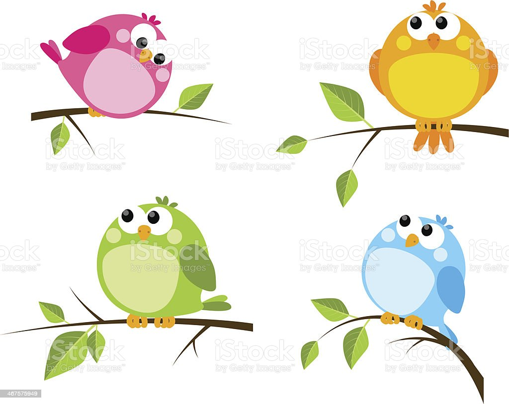 Set of cute color birds royalty-free stock vector art