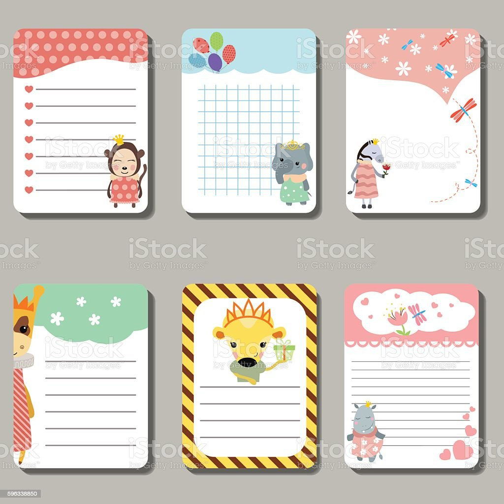 Set of cute creative cards with animals dressed as princess. vector art illustration