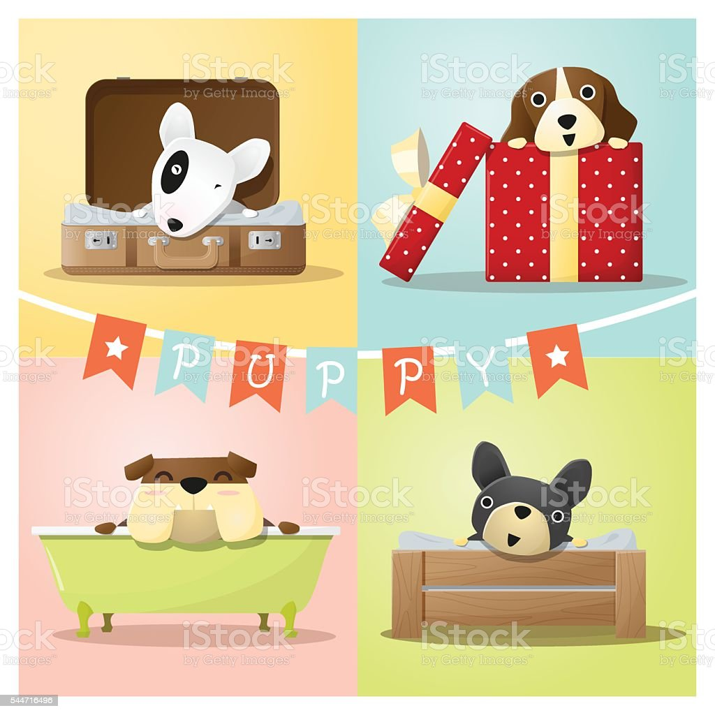 Set of cute dog background vector art illustration