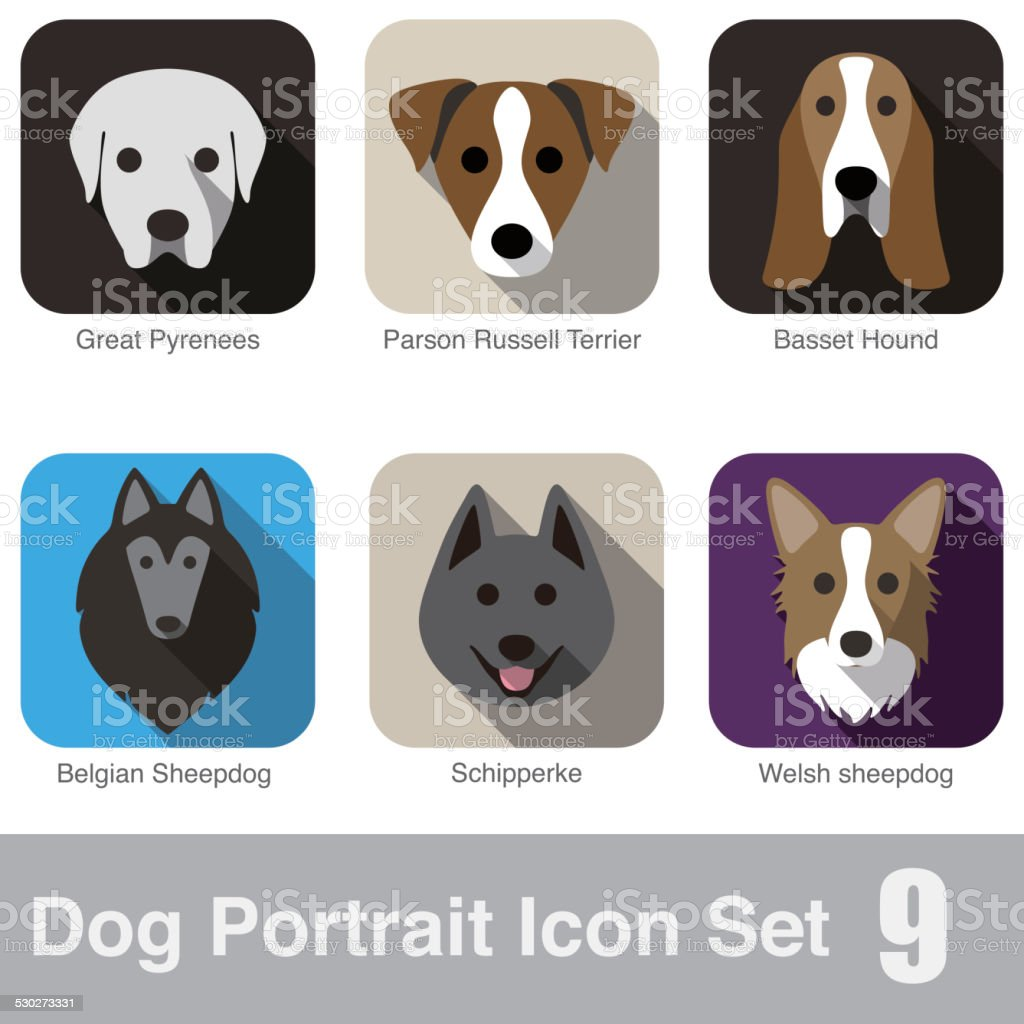 set of cute dog head icons, vector illustration vector art illustration
