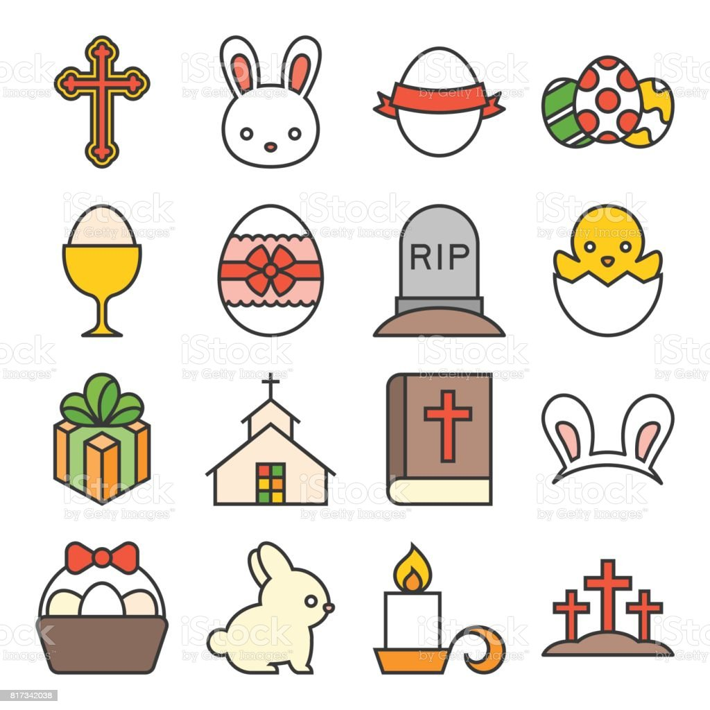 set of cute easter icon vector art illustration