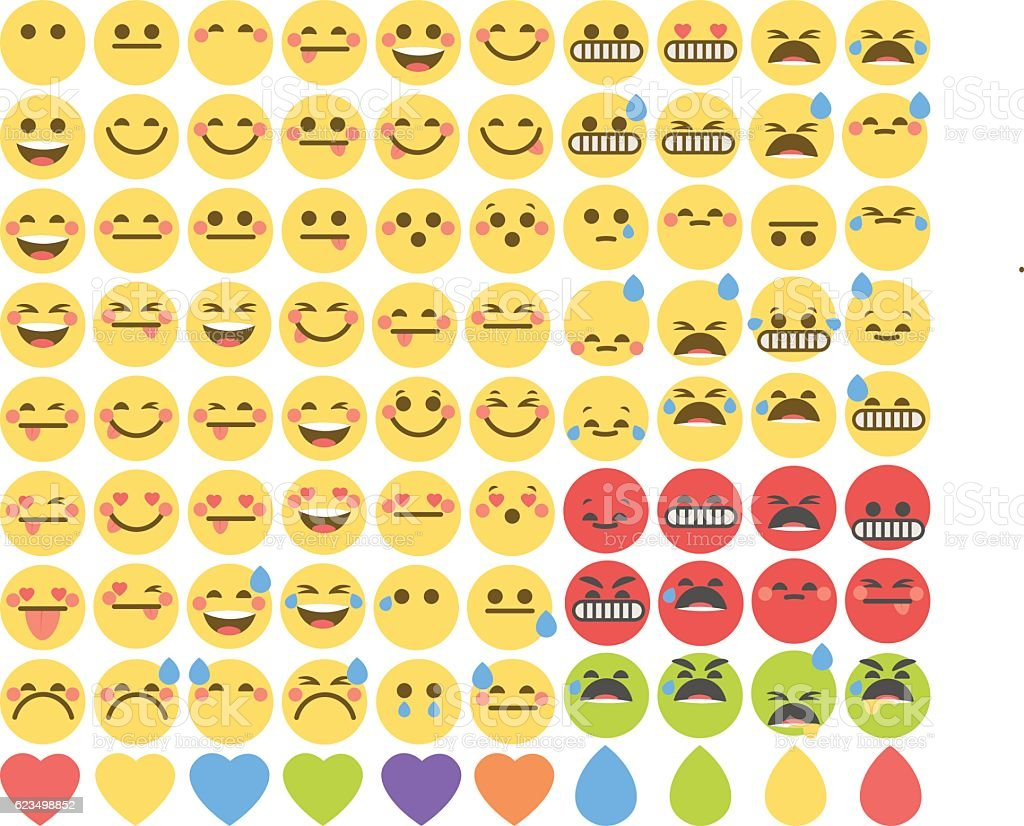 Set of cute emoticons, emoji flat design, vector illustration. vector art illustration