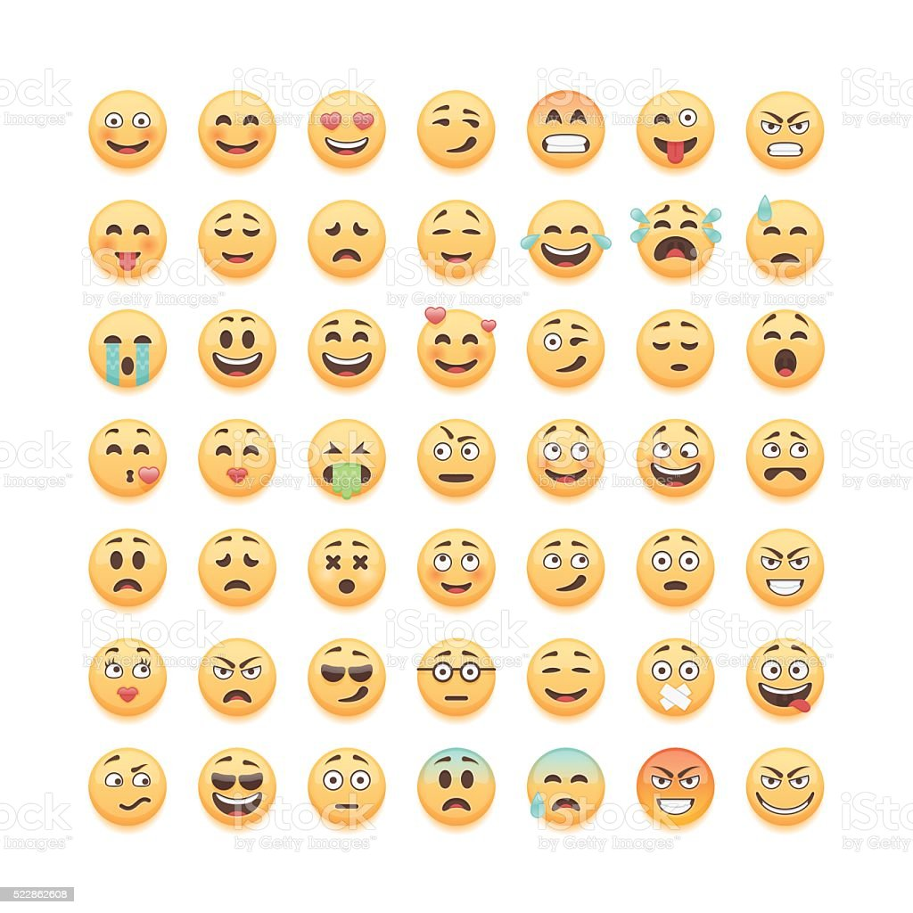 Set of cute emoticons isolated on white background, vector illustration. vector art illustration