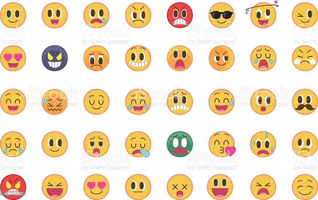 Set of cute emoticons (emoji) vector art illustration