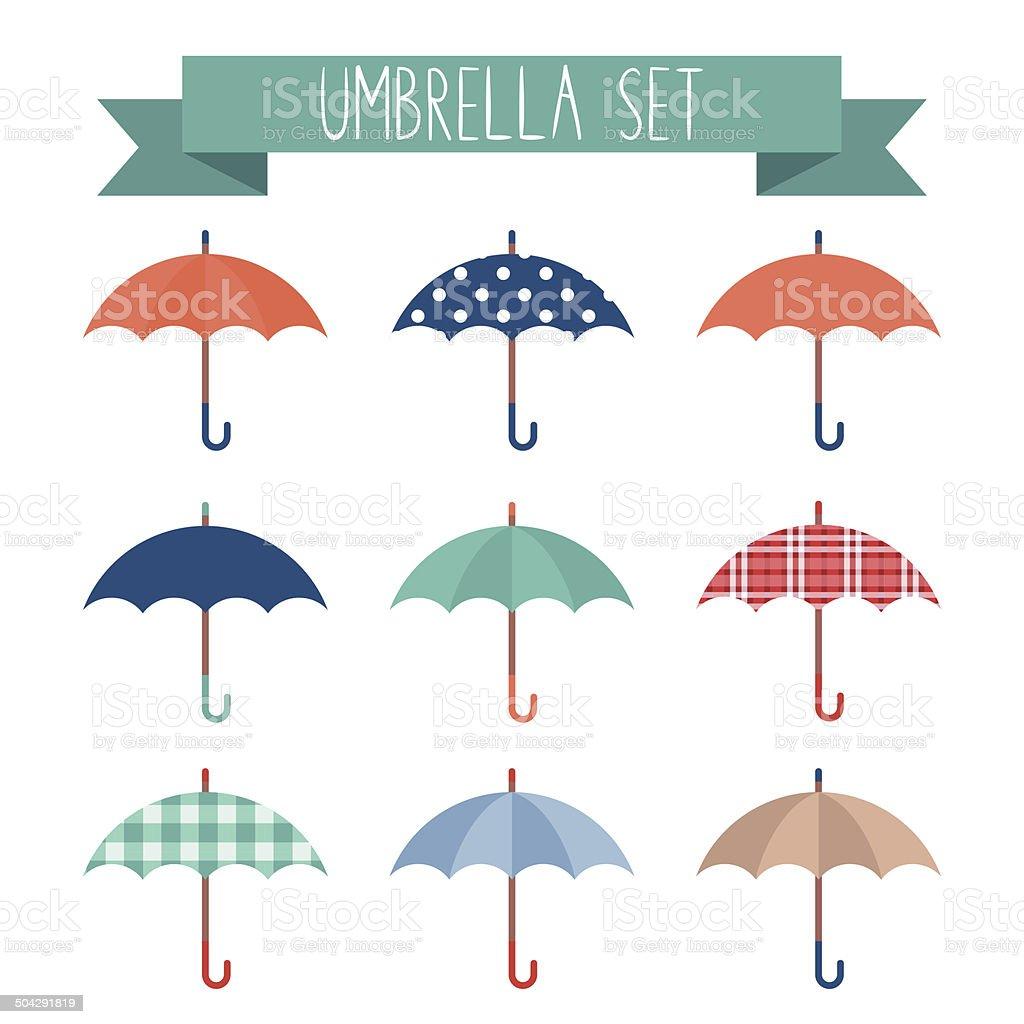Set of cute flat style autumn umbrellas vector art illustration