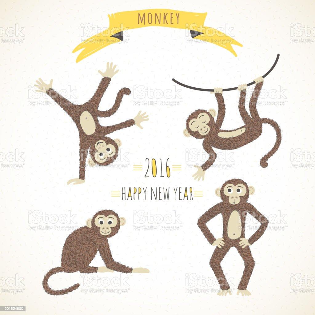 Set of cute funny monkeys in a cartoon style. vector art illustration