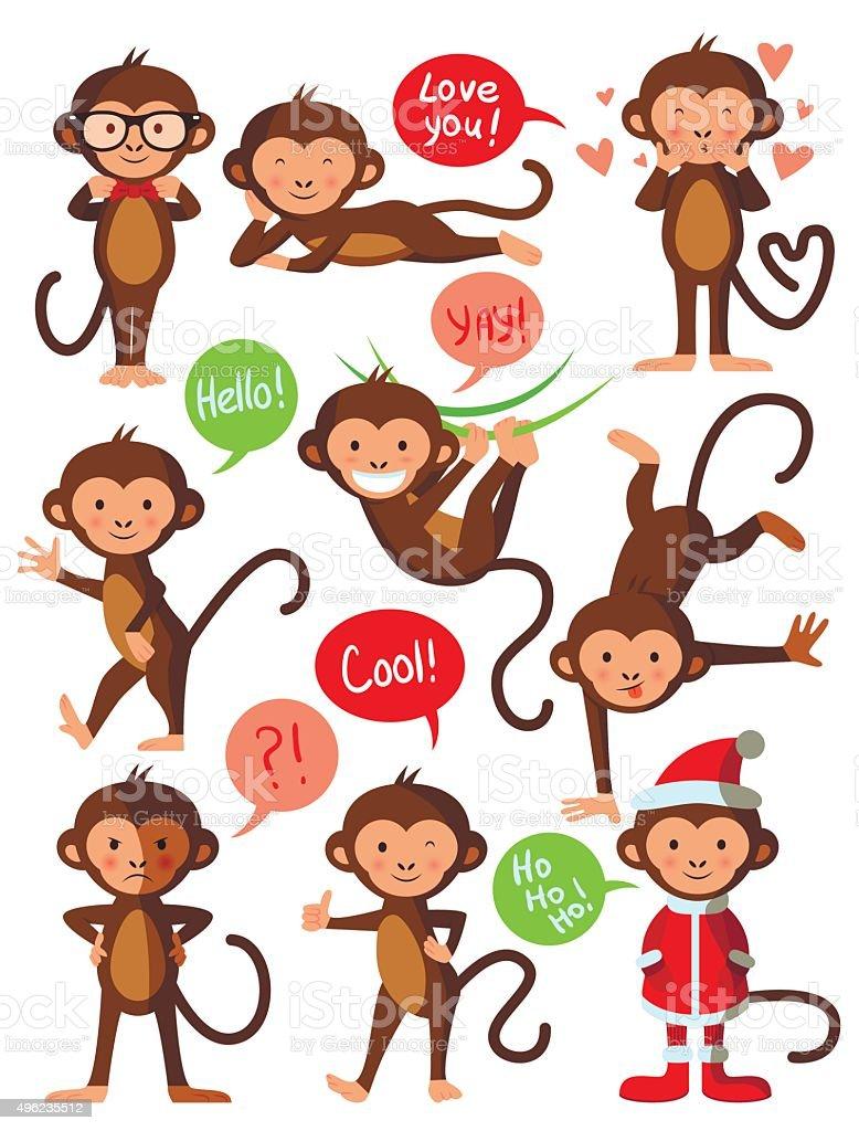 Set of cute funny monkeys, vector illustration design vector art illustration