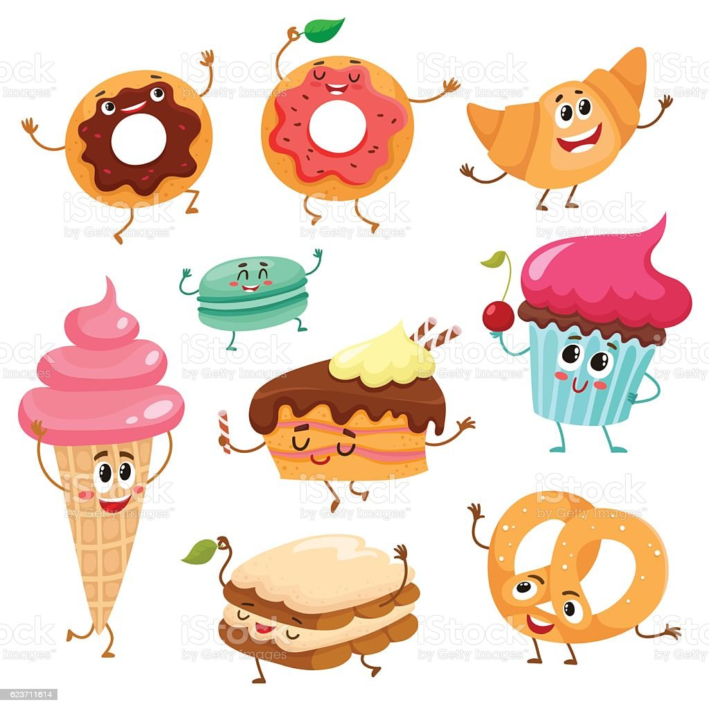 Set of cute, funny smiley dessert characters vector art illustration