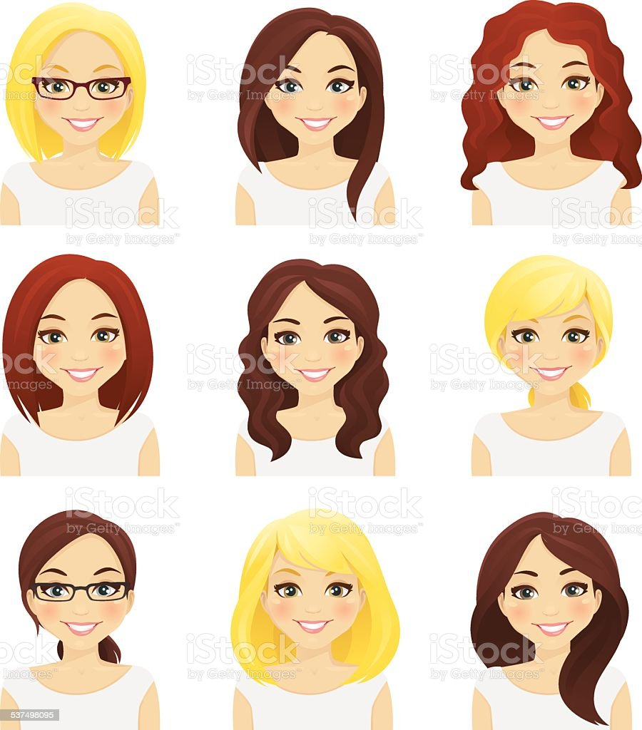 Set of cute girls vector art illustration