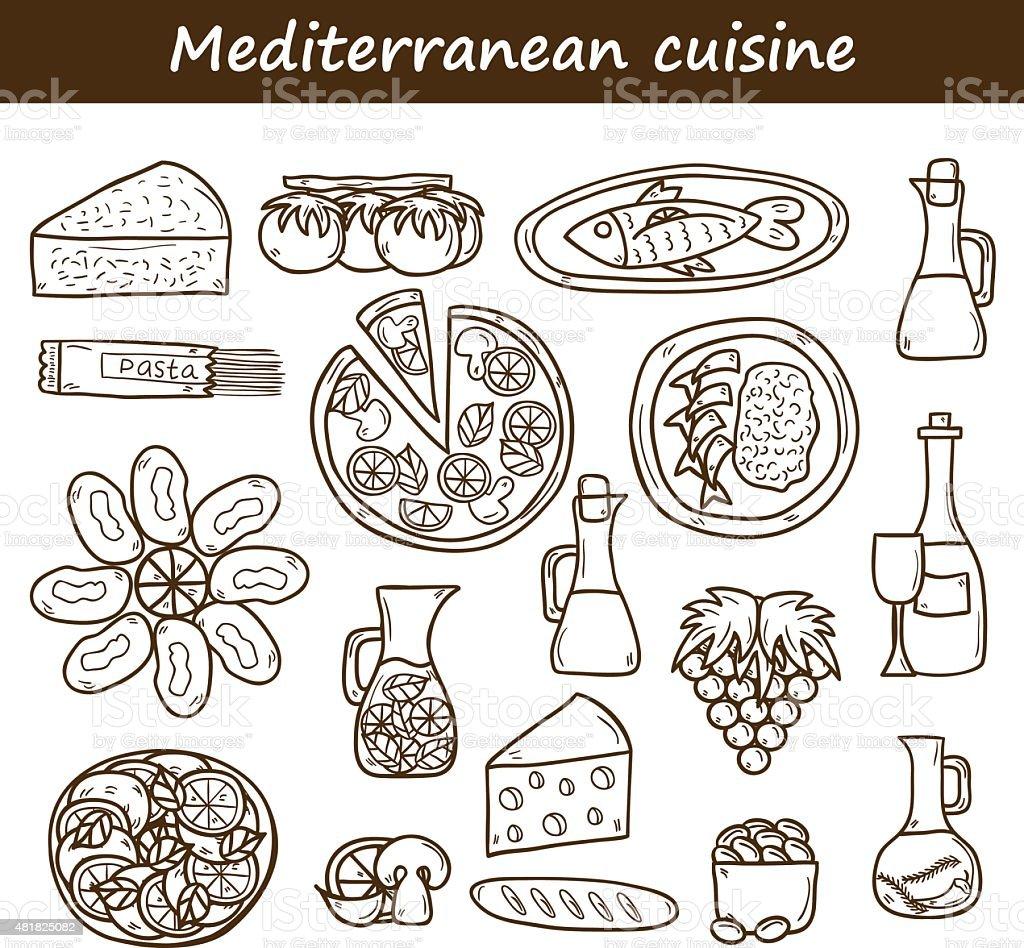 Set of cute hand drawn cartoon objects on mediterranean cuisine vector art illustration