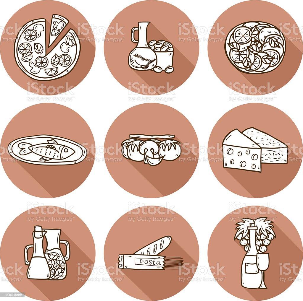 Set of cute hand drawn cartoon shadow objects on mediterranean vector art illustration