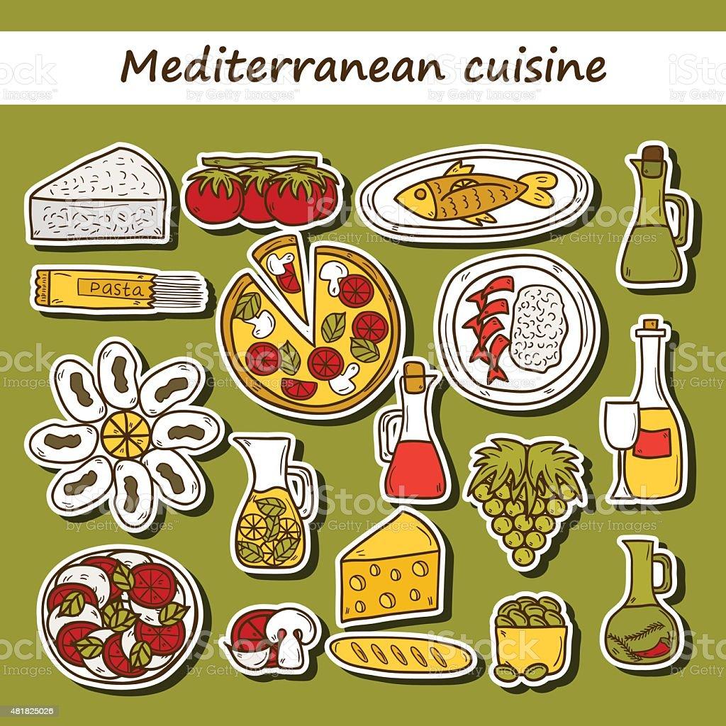 Set of cute hand drawn cartoon stickers on mediterranean cuisine vector art illustration
