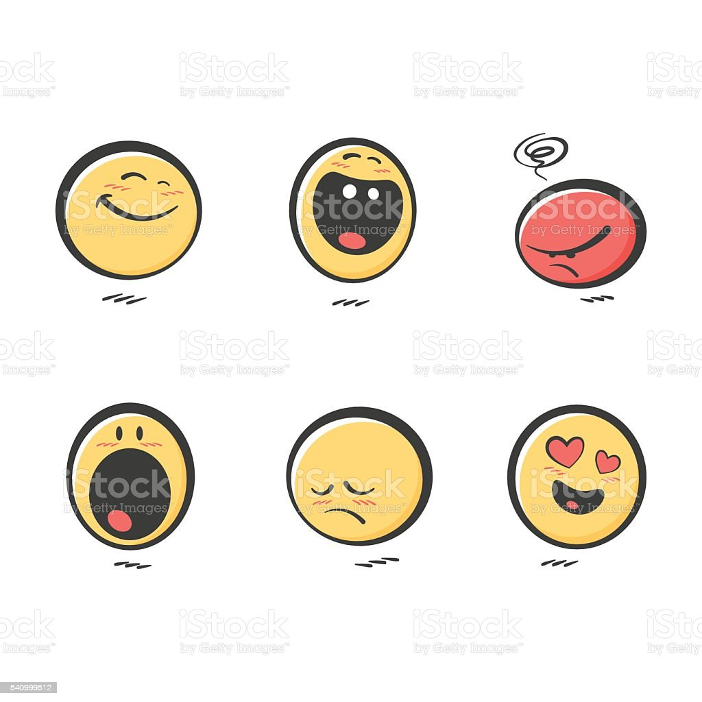 Set of cute hand drawn color emoticons reactions vector art illustration