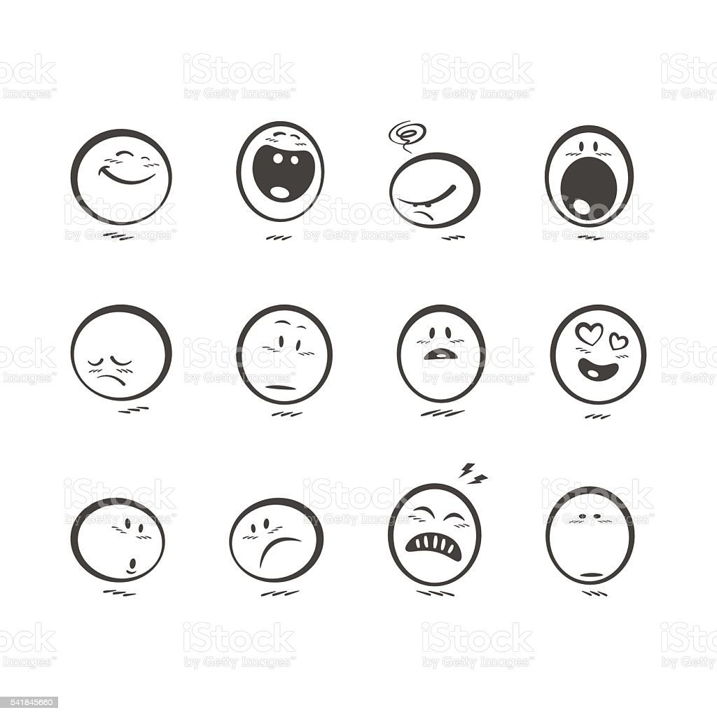 Set of cute hand drawn emoticons vector art illustration