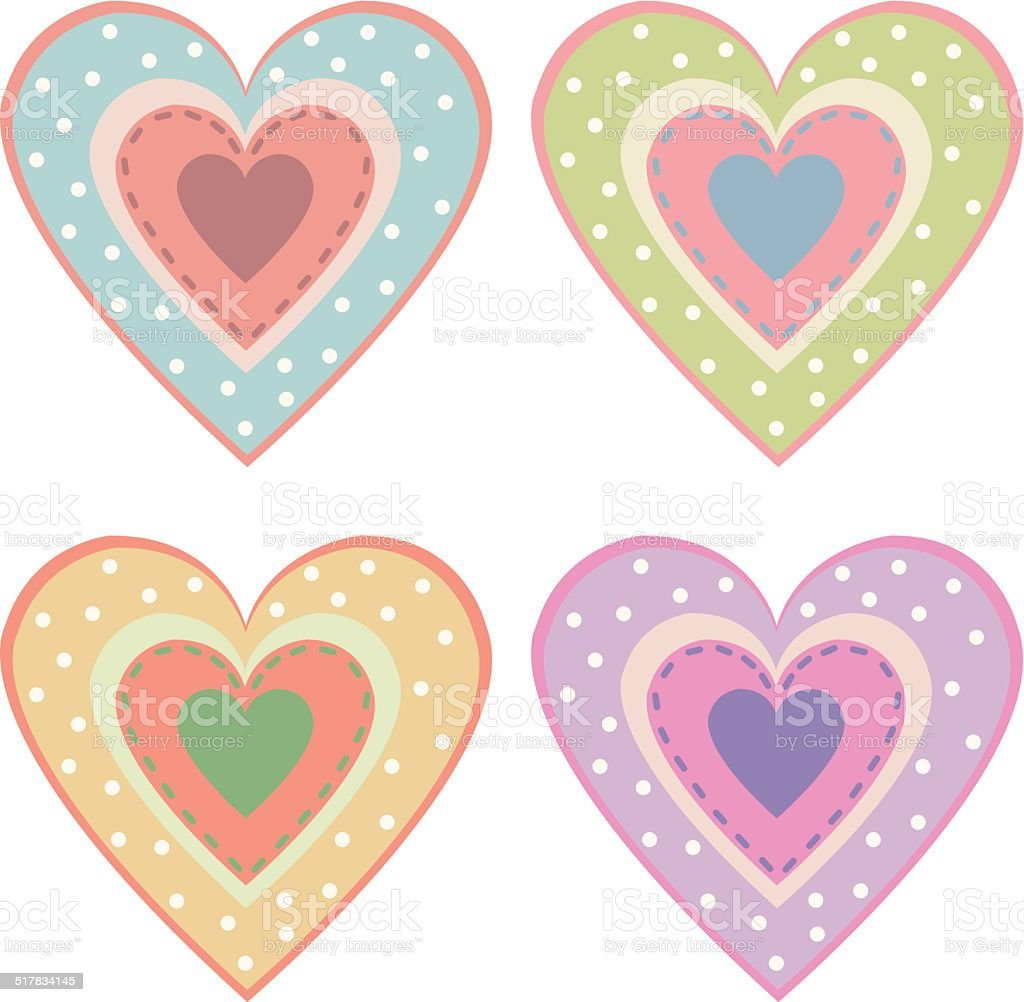 set of cute hearts royalty-free stock vector art