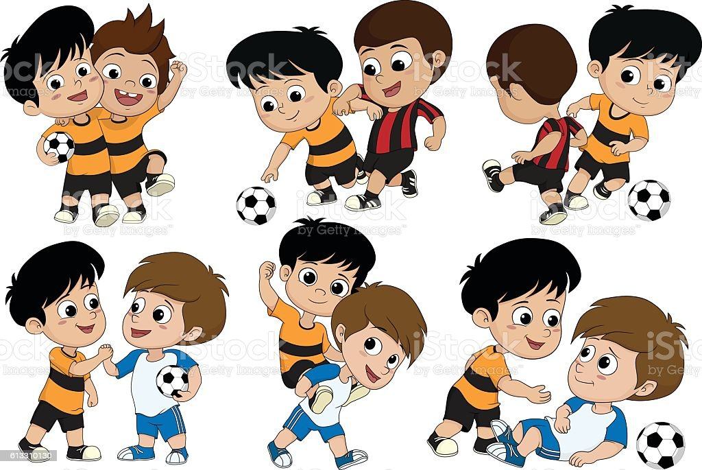 Set of Cute kid played football with friends. stock vecteur libres de droits libre de droits