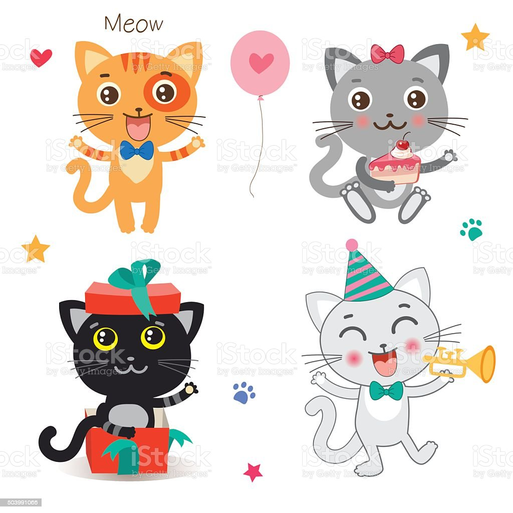 Set of cute little cats. Cartoon animal. Vector collection on a white...