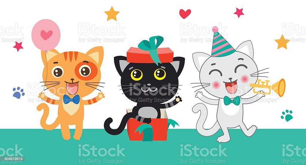 Set Of Cute Little Cats. Cartoon Animal. vector art illustration