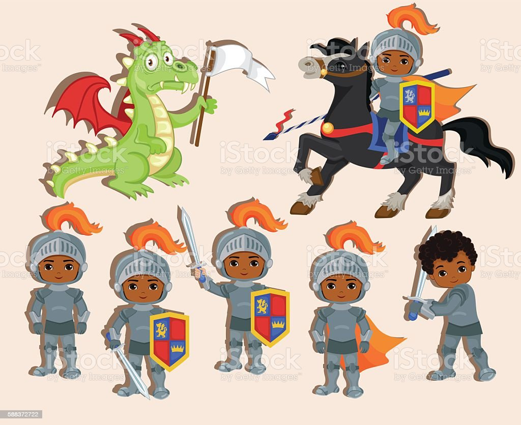 set of cute little knights and  dragon with  flag. vector art illustration