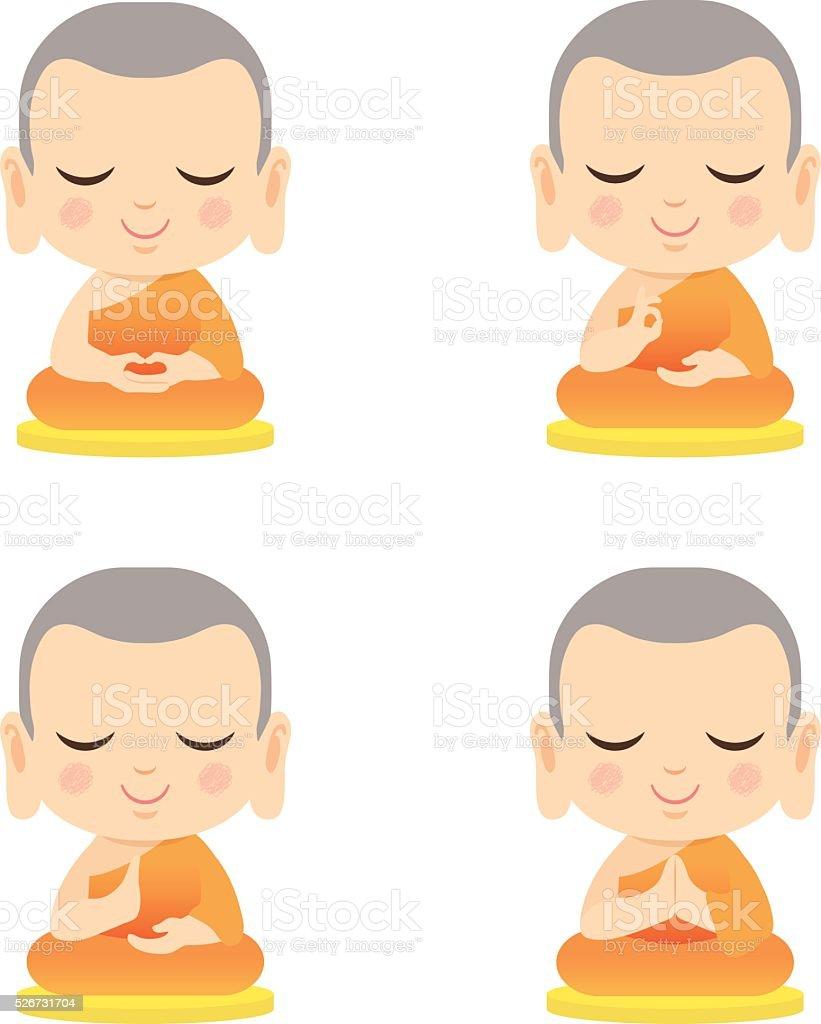 Set of cute monk vector art illustration