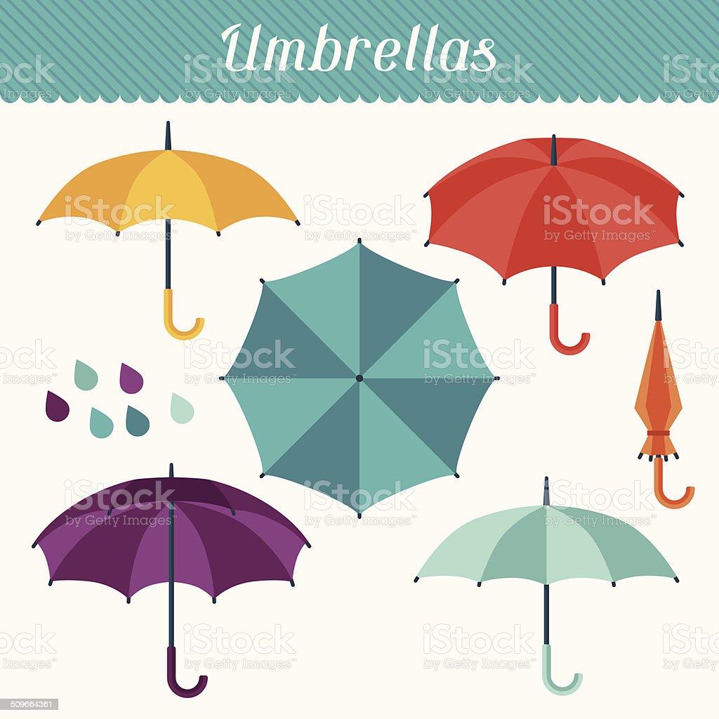 Set of cute multicolor umbrellas in flat design style. vector art illustration