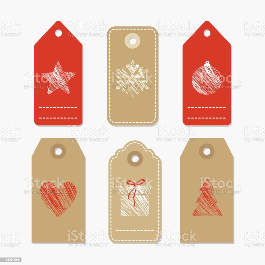 Set of cute paper gift tags with textured christmas symbols vector art illustration