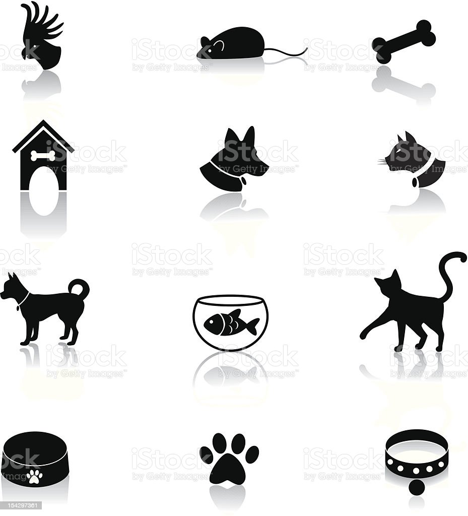 Set of cute pet accessory icons royalty-free stock vector art