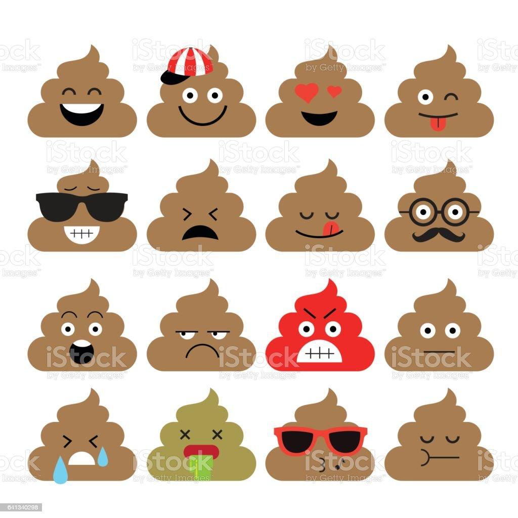 Set of cute poop, emoji vector art illustration