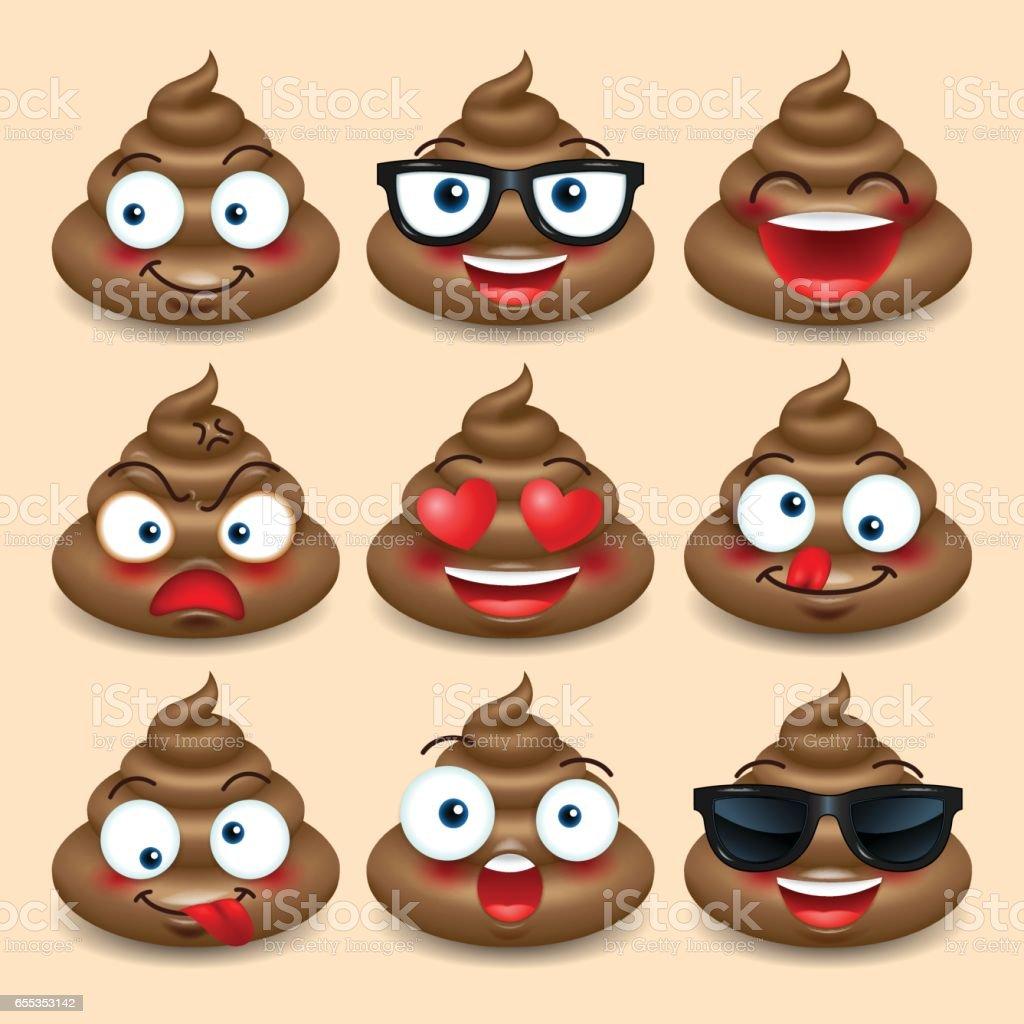 Set of cute poop, happy poop, emoji, emotional, vector illustration. vector art illustration