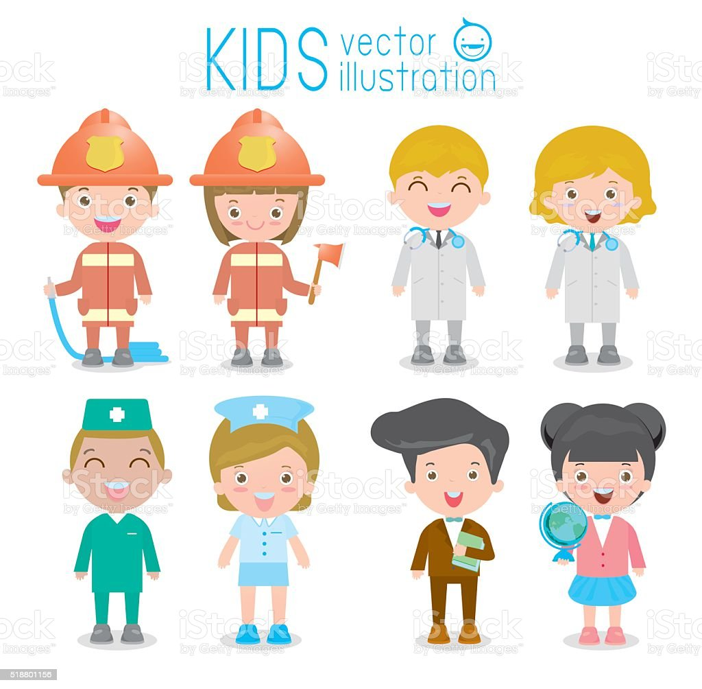set of cute professions for kids isolated on white background vector art illustration