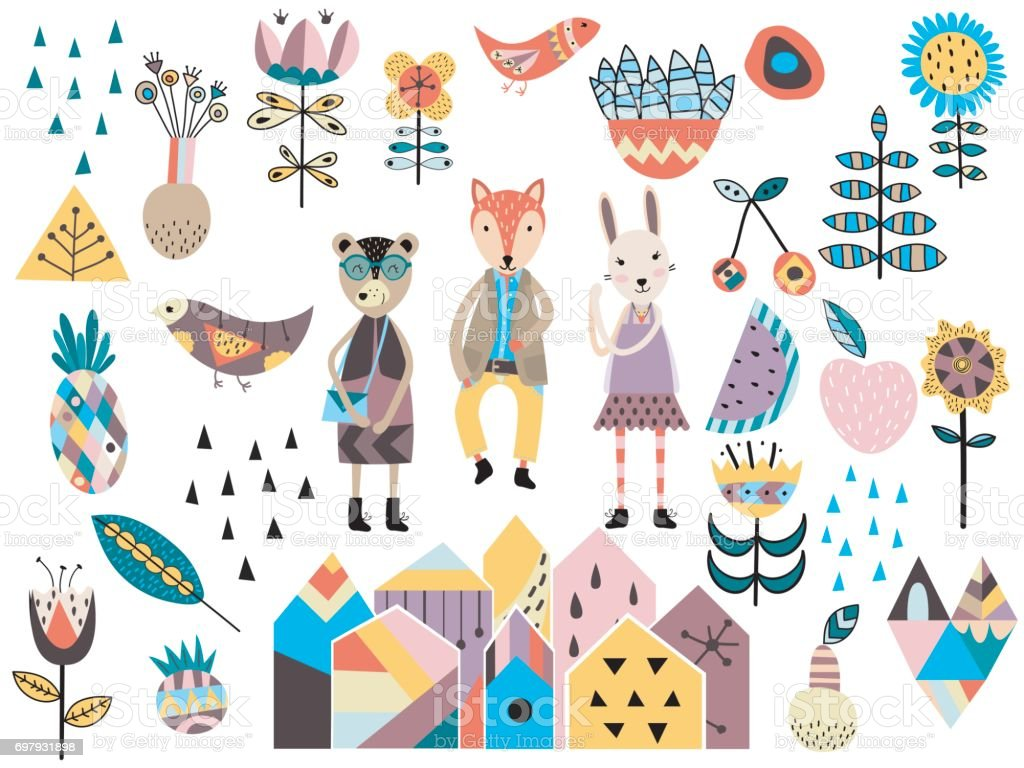 Set of cute scandinavian style elements and animals. vector art illustration