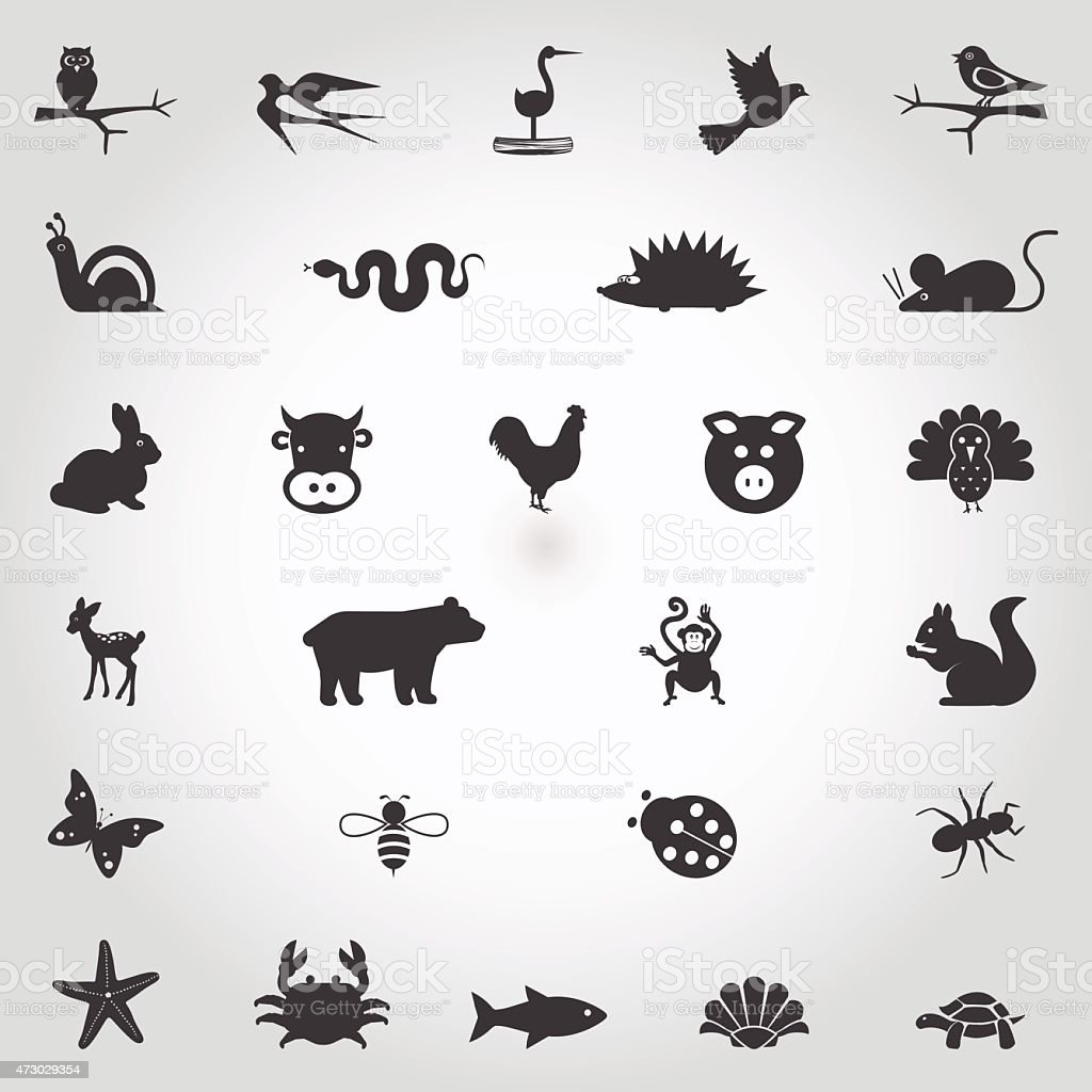 Set of cute simple animal icons on white background vector art illustration